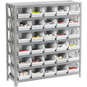 "Steel Shelving with 36 4""H Plastic Shelf Bins Stone White, 36x18x39-7 Shelves"