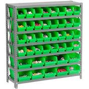 "Steel Shelving with Total 42 4""H Plastic Shelf Bins Green, 36x18x39-7 Shelves"