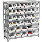 "Steel Shelving with Total 42 4""H Plastic Shelf Bins Ivory - 36x18x39-7 Shelves"