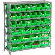 "Steel Shelving with 48 4""H Plastic Shelf Bins Green, 36x18x39-7 Shelves"