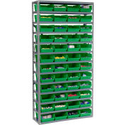 "Steel Shelving with 48 4""H Plastic Shelf Bins Green, 36x12x72-13 Shelves"