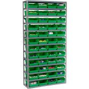 "Steel Shelving with 48 4""H Plastic Shelf Bins Green, 36x12x72-13 Shelves"