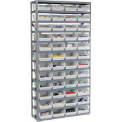 "Steel Shelving with 48 4""H Plastic Shelf Bins Stone White, 36x12x72-13 Shelves"