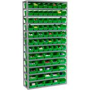 "Global Industrial™ Steel Shelving - Total 81 4""H Plastic Shelf Bins Green, 36x12x72-13 Shelves"