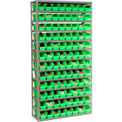 "Steel Shelving with 96 4""H Plastic Shelf Bins Green, 36x12x72-13 Shelves"