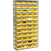 "Steel Shelving with 60 4""H Plastic Shelf Bins Stone White, 36x18x72-13 Shelves"