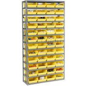 "Steel Shelving with 60 4""H Plastic Shelf Bins Ivory - 36x18x72-13 Shelves"