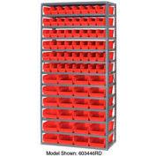 "Steel Shelving with 96 4""H Plastic Shelf Bins Stone White, 36x18x72-13 Shelves"