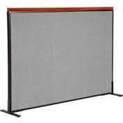 "Deluxe Freestanding Office Partition Panel, 60-1/4""W x 43-1/2""H, Gray"
