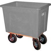 "Wesco® Plastic Box Truck 4 Bushel Gray 272530 8"" Casters"