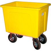 "Wesco® Plastic Box Truck 20 Bushel Yellow 272554 8"" Casters"