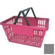 "Plastic Shopping Basket with Plastic Handle, Large, 19-3/8""L X 13-1/4""W X 10""H, Gray, Good L ® - Pkg Qty 12"