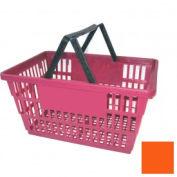 """Plastic Shopping Basket with Plastic Handle, Large,19-3/8""""L X 13-1/4""""W X 10""""H, Orange, Good L ® - Pkg Qty 12"""