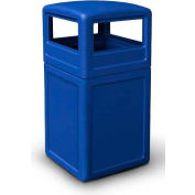 42 Gallon Square Waste Container with Dome Lid - Blue