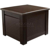 "Rubbermaid 1Q05 Patio Chic Storage Cube Deck Box, 28.5""L x 28.5""W x 23.5""H, Dark Teak"