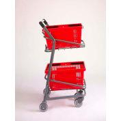 VersaCart ® EZcart Basket Cart for (2) 28 Gallon Plastic Shopping Baskets, Metallic Gray - Pkg Qty 2