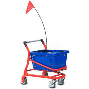VersaCart ® Kiddy EZcart for (1) 28 Gallon Plastic Shopping Basket, Metallic Gray - Pkg Qty 2