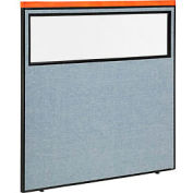 """Deluxe Office Partition Panel with Partial Window, 60-1/4""""W x 61-1/2""""H, Blue"""