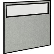 "Office Partition Panel with Partial Window, 48-1/4""W x 42""H, Gray"