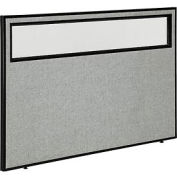 "Office Partition Panel with Partial Window, 60-1/4""W x 42""H, Gray"