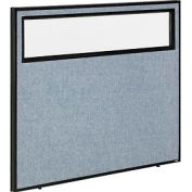 "Office Partition Panel with Partial Window, 48-1/4""W x 42""H, Blue"