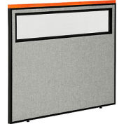 """Deluxe Office Partition Panel with Partial Window, 48-1/4""""W x 43-1/2""""H, Gray"""
