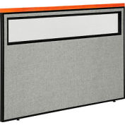 "Deluxe Office Partition Panel with Partial Window, 60-1/4""W x 43-1/2""H, Gray"