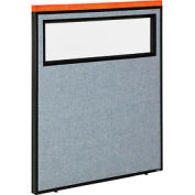 """Deluxe Office Partition Panel with Partial Window, 36-1/4""""W x 43-1/2""""H, Blue"""