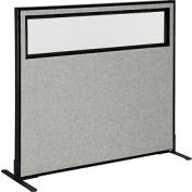 """Freestanding Office Partition Panel with Partial Window, 48-1/4""""W x 42""""H, Gray"""