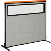 """Deluxe Freestanding Office Partition Panel with Partial Window, 48-1/4""""W x 43-1/2""""H, Gray"""