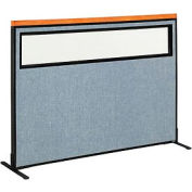 """Deluxe Freestanding Office Partition Panel with Partial Window, 60-1/4""""W x 43-1/2""""H, Blue"""
