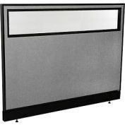 """Office Partition Panel with Partial Window & Raceway, 60-1/4""""W x 46""""H, Gray"""