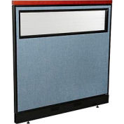 """Deluxe Office Partition Panel with Partial Window & Raceway, 48-1/4""""W x 47-1/2""""H, Blue"""