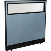 "Office Partition Panel with Partial Window & Pass-Thru Cable, 48-1/4""W x 46""H, Blue"