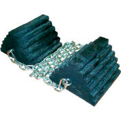 """Rumber® 2/4121-CH5 Lifetime Recycled Rubber Double Wheel Chock Set & 60"""" Chain"""