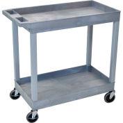 Luxor® EC11 E-Series 2-Shelf Tub Cart 35-1/4 x 18 x 34-1/4, 400 Lb. Cap., Gray
