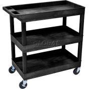 Luxor® EC111 E-Series Black 3-Shelf Tub Cart 35-1/4 x 18 400 Lb. Cap.