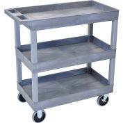 Luxor® EC111HD E-Series Gray 3-Shelf Tub Cart 35-1/4 x 18 500 Lb. Cap.