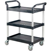 Vestil Large Plastic Utility Cart CSC-L with 3 Shelves and Open Sides