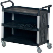 Plastic Utility Cart CSC-P with 3 Shelves, Closed Ends & Back