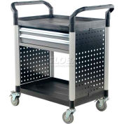 Vestil Plastic Utility Cart CSC-2D with 2 Drawers & Closed Ends
