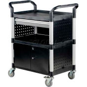 Vestil Plastic Utility Cabinet Cart CSC-DD with 1 Drawer, Closed Ends & Back
