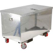 """Vestil Aluminum Treadplate Tool Box APTS-2448-CF - w/Casters & Fork Pockets, 48""""x24""""x24"""""""