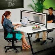 Interion® Double Collaboration Desk With Translucent Plexiglass Partition