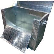 """Vestil Aluminum Treadplate Tool Box APTS-2448-CF-FD -w/Drop Gate, Casters & Fork Pockets,48""""x24""""x24"""""""