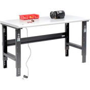 "60""W X 30""D ESD Safety Edge Workbench - Adjustable Height - Black"