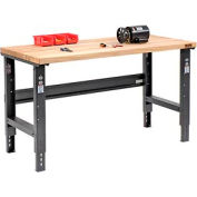 "60""W X 36""D Maple Butcher Block Square Edge Workbench - Adjustable Height - Black"