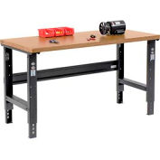 """60""""W X 30""""D Shop Top Square Edge Workbench - Adjustable Height - Black"""