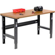 "60""W X 30""D Shop Top Safety Edge Workbench - Adjustable Height - Black"