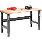 "60""W X 30""D Maple Butcher Block Safety Edge Workbench - Adjustable Height - Black"